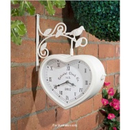 Double Sided Outdoor Heart Clock