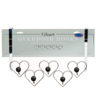Chrome Overdoor Heart Hooks - Black