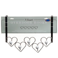 Chrome Overdoor Heart Hooks - White