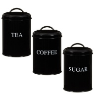 Tea, Coffee & Sugar Set - Black