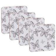 Coasters 4pk - Grey Butterfly