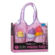 7pc Dolls Nappy Bag with Accessories