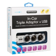 Optimum Triple In Car Charger with USB