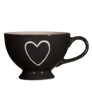 Heart Bowl with Handle - Chocolate with Taupe Heart
