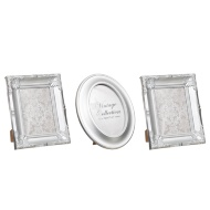 Set of 3 Metallic Vintage Frames - Silver