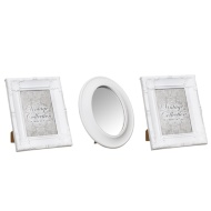 Set of 3 Metallic Vintage Frames - White