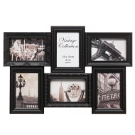 6 Aperture Vintage 3D Photo Frame - Black