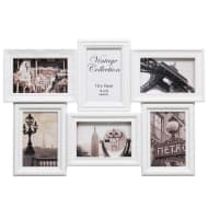 6 Aperture Vintage 3D Photo Frame - White