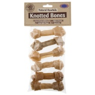 Natural Rawhide Knotted Bones 6PK