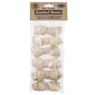White Rawhide Knotted Bones 6PK