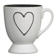 Heart Footed Mug - White with Grey Heart