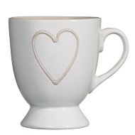 Heart Footed Mug - White with Taupe Heart