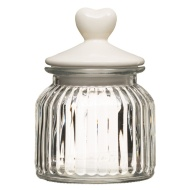 Glass Jar with Heart Lid