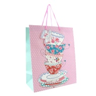 Everyday Gift Bags Large 2pk - Tea Cups & Butterflies