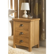 Wiltshire Oak 3 Drawer Bedside