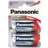 Panasonic D Type 2 Pack Alkaline Batteries