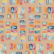 Everyday Wrapping Paper 3m - Happy Birthday Brown