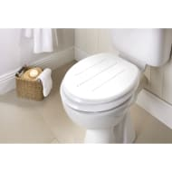 Moulded Wood Diamante Toilet Seat - White Stripe