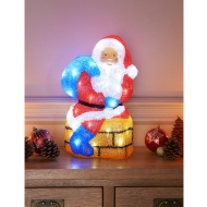 Crystal Light Up Santa Decoration