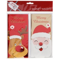 Christmas Money Wallets 2pk - Merry Christmas Red