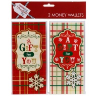 Christmas Money Wallets 2pk - A Gift For You - Tartan