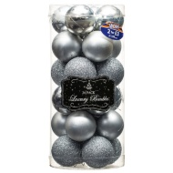 Medium Drum Baubles 24pk - Silver