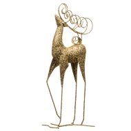 Tall Glitter Reindeer Decoration - Gold