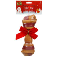 Christmas Rawhide Dog Treat - Large Bone
