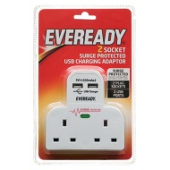 Eveready 2 Socket Extension Lead with 2 USB Chargers