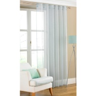 Amber Plain Textured Voile Curtains - Duck Egg