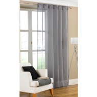 Amber Plain Textured Voile Curtains - Gunmetal