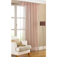 Amber Plain Textured Voile Curtains - Stone