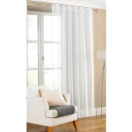 Amber Plain Textured Voile Curtains - White