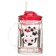 Glitter Tumbler with Handle & Straw - Cow