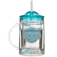 Glitter Tumbler with Handle & Straw - Elephant