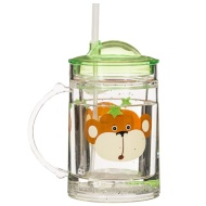 Glitter Tumbler with Handle & Straw - Monkey
