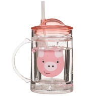 Glitter Tumbler with Handle & Straw - Pig