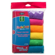 Rainbow Microfibre Cloths 6pk