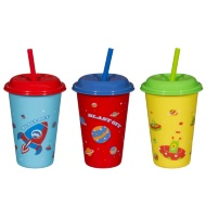 Assorted Cups with Straw 12oz 3pk - Space