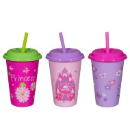 Assorted Cups with Straw 12oz 3pk - Princess