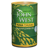John West Tuna Chunks in Sunflower Oil 4 x 145g Cans