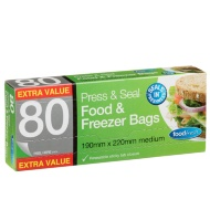 Press & Seal Food & Freezer Bags 90pk