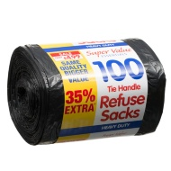 Tie Handle Refuse Sacks 100pk