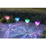 Diamond Stake Solar Lights 4pk - Multicolour