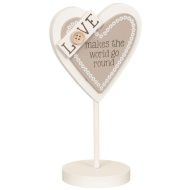 Heart Slogan Stand - Love Makes the World Go Round