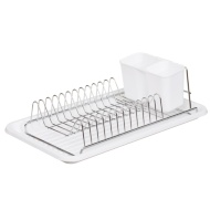 Betty Winters Space Saver Dish Drainer with Wipe-Clean White Tray