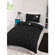 Glow in the Dark Single Duvet Set - Black
