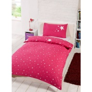 Glow in the Dark Single Duvet Set - Pink