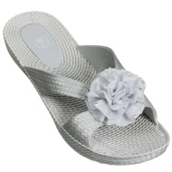 Ladies Flower Mule Sandals - Silver