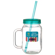 Plastic Jar Cup with Handle & Straw